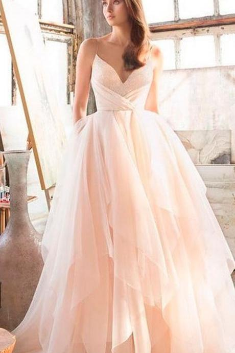 Spaghetti Strap V-Neck Ruffle A-line Wedding Dress, Prom Dress