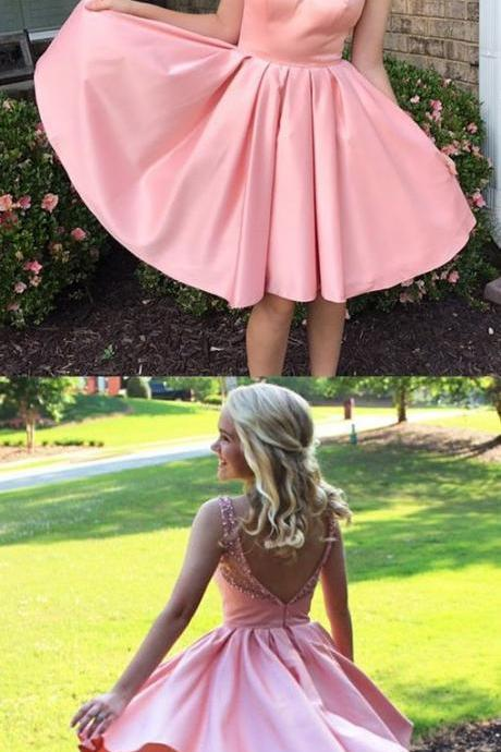 Princess Beads Short Backless Pink Homecoming Dress ,Custom Made,Party Gown,Cheap Evening dress, Party Gown
