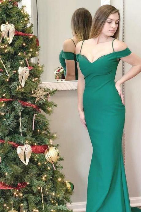 Green Prom Dress,Off the Shoulder Prom Dresses,Mermaid Prom Dress,Simple Prom Dress,Custom Made,Party Gown,Cheap Evening dress