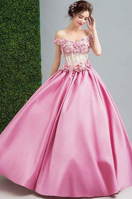 Pink Satin Off The Shoulder Wedding Dress ,Custom Made,Party Gown,Cheap Evening dress