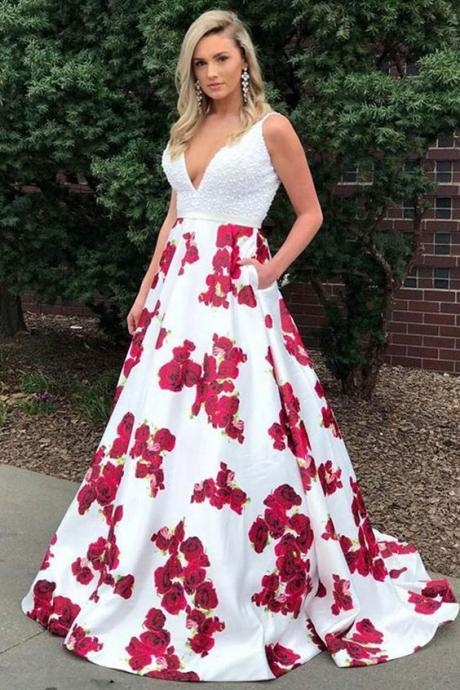 A-Line Deep V-Neck Sweep Train White Printed Satin Prom Dress with Beading Pockets,Custom Made,Party Gown,Cheap Evening dress
