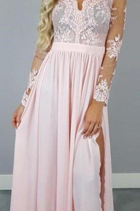 Long Sleeves Pink Long Prom Dress with Slit,Custom Made,Party Gown,Cheap Evening dress