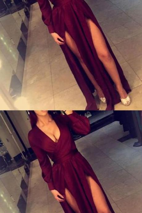 Burgundy Floor Length Long Sleeves Deep V Neckline Long Prom Dress With Slits,Custom Made,Party Gown,Cheap Evening dress