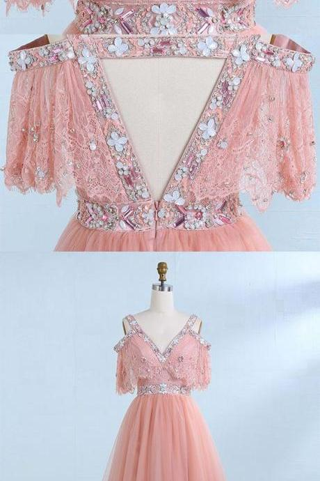 A-Line V-Neck Cold Shoulder Blush Tulle Prom Dress with Lace Beading,Cheap Evening Dress,Custom Made,Party Gown