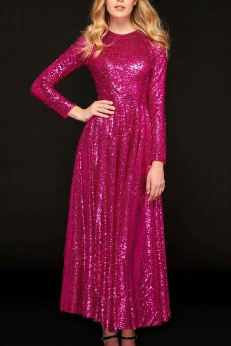 A-Line Jewel Sequins Prom Dress ,Custom Made,Party Gown,Cheap Prom Dress