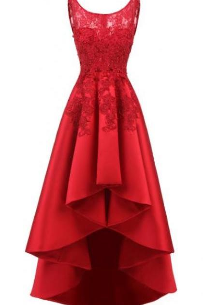 2018 Long Prom Gowns ,Red Prom Dress,With Lace,High Low Prom Dress,Custom Made,Party Gown,Cheap Prom Dress