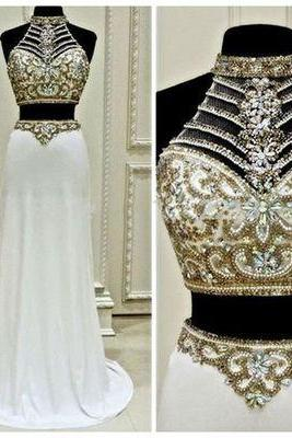 Two Pieces Prom Dress,Sparkly Midriff Beaded Prom Dress ,Evening Dress,Custom Made