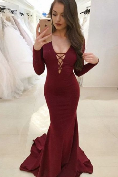 Mermaid V-Neck Sweep Train Backless Party Dress, Burgundy Stretch Chiffon Prom Dress