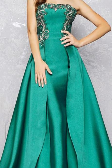 Satin Strapless Neckline A-line Prom Dress With Beading,Long Party Dress