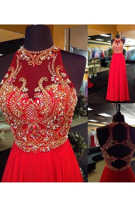 Red prom dress, Beaded prom dress, long prom dress, prom dress online, rhinestone prom dress