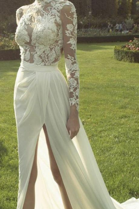 Ivory High Neck Long Sleeves Weeding Dress, See Through Applique Side Split Sexy Long Prom Dresses, Wedding Dress