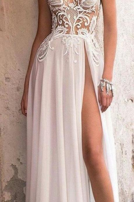white wedding dress,sexy prom dress,v-neck evening dress