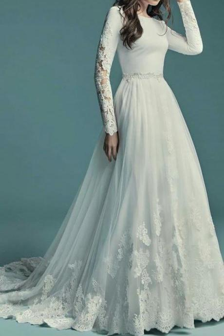 Tulle Long Sleeve White Wedding Dress, A-line Wedding Dress
