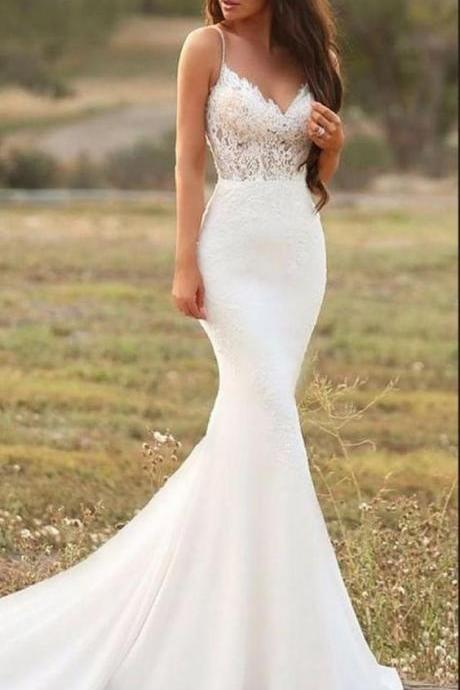 White mermaid long wedding dress,evening dress with lace