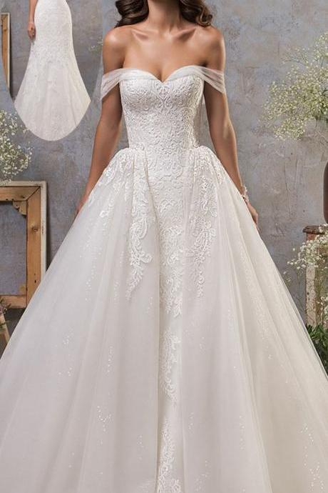 Stunning Tulle Off-the-shoulder Weeding Dress, Wedding Dress With Lace Appliques