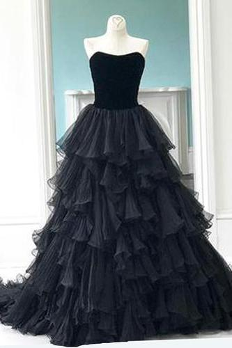 Princess black tulle sweetheart neck long multi-layer evening dress, prom gown