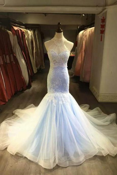 Mermaid Lace Wedding Dress,Colorful Bridal Dress,Halter Neckline Mermaid Light Blue Wedding Gown