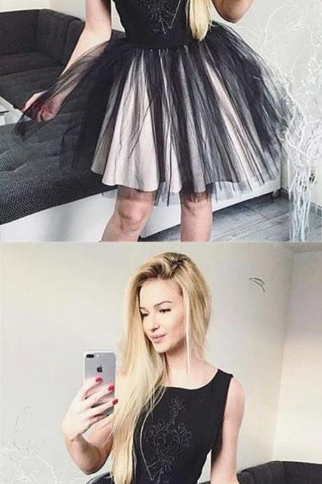chic black tulle short homecoming dresses for teens, little black dress with beading,knee length prom party gowns