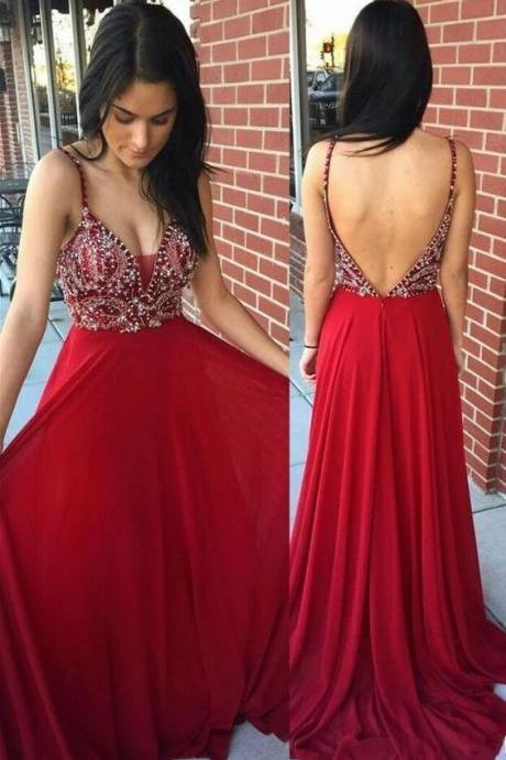 Sexy A Line Backless Prom Dresses, Long Evening Dress, Crystal Red Party Dress