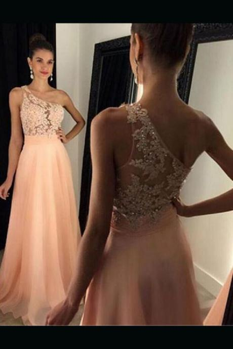 Discount prom dress Fancy A-Line,party dress Chiffon, With Appliques prom dress, Long one shoulder prom dress
