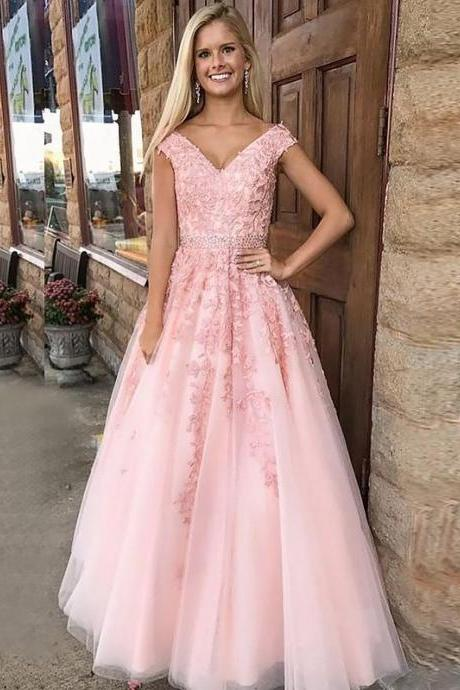 A-Line V-neck Formal Tulle Long Dresses With Applique off shoulder ball gown evening dress