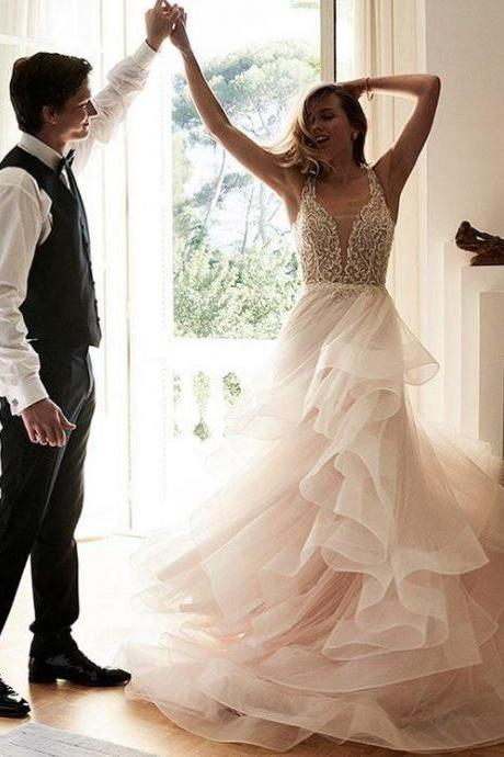 Lace Tulle A-line Romantic paty dress Long Bridal Wedding Dress