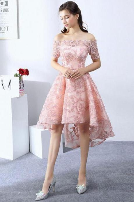 High Low Prom Dresses, off shoulder Prom Dresses, Lace Prom Dresses