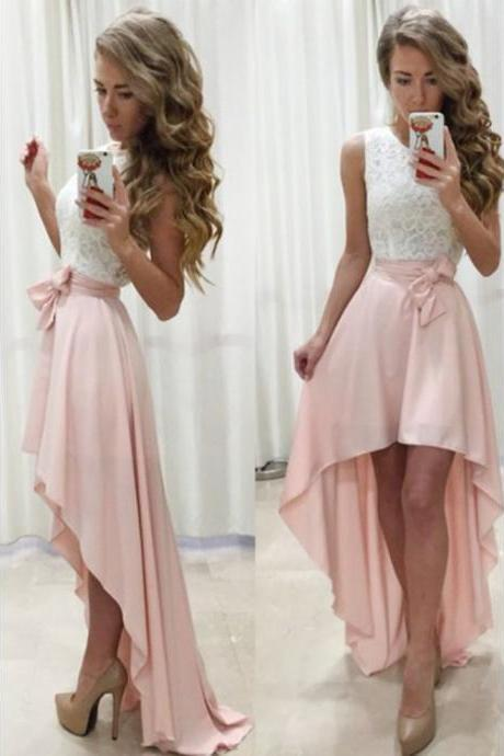 Short Prom Dresses, Prom Dresses A-Line, Prom Dresses Pink, Prom Dresses Lace homecoming dress hight low prom dress