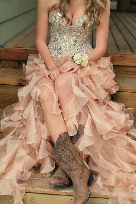 Custom Made Pink High Low Prom Dresses, pink Evening Dresses,romantic Party Dresses, Formal Dresses lace