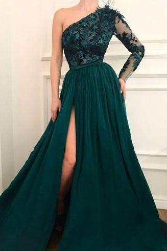 green full lace evening dress asymmetrical one shoulder ball gowns scalloped long prom dress with long sleeve and sexy slit party dress
