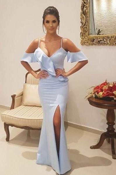off shoulder prom dress Mermaid evening dress Spaghetti Straps prom dress Short Sleeves party dress Floor-Length Blue Prom Dress