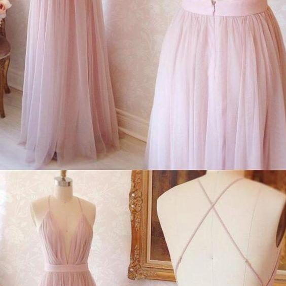 Hot Sale Sleeveless Pink Prom Evening Dresses Trendy Long A-line/Princess Criss Cross Criss-Cross Dresses