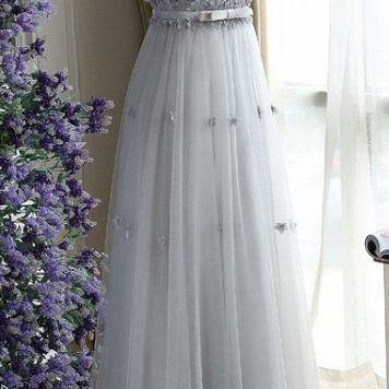 Grey Prom Dresses, Long Prom Dresses, Charming Gray A Line Tulle Long Floral Simple Sleeveless Long Prom Dress