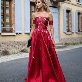 Red Long Prom Dresses Strapless Floor-length Satin Sexy Prom Dress/Evening Dress