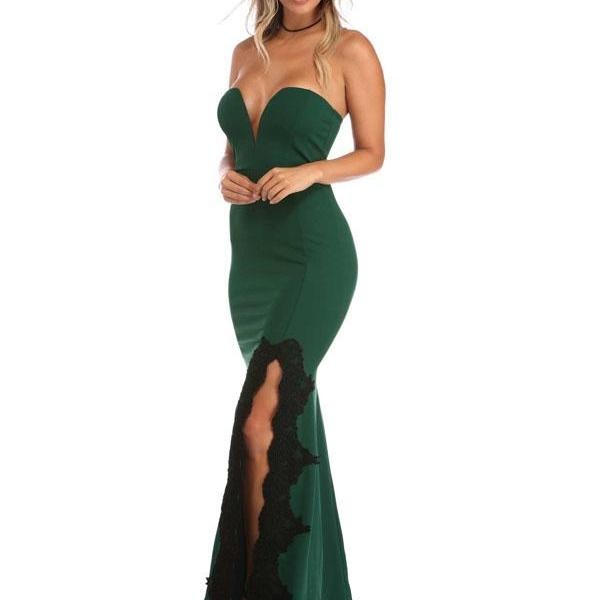 Long Prom Dresses, Sweet Heart Prom Dresses, Mermaid Prom Dresses, Jersey Prom Dresses Online, Sexy Prom Dress, Lace Prom Dress, Side Split Prom Dress