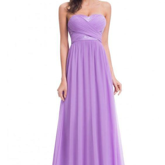 Purple Floral Appliques Ruched Sweetheart Floor Length A-Line Prom Dress