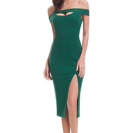 Green Sexy Off Shoulder Slit Bodycon Dress