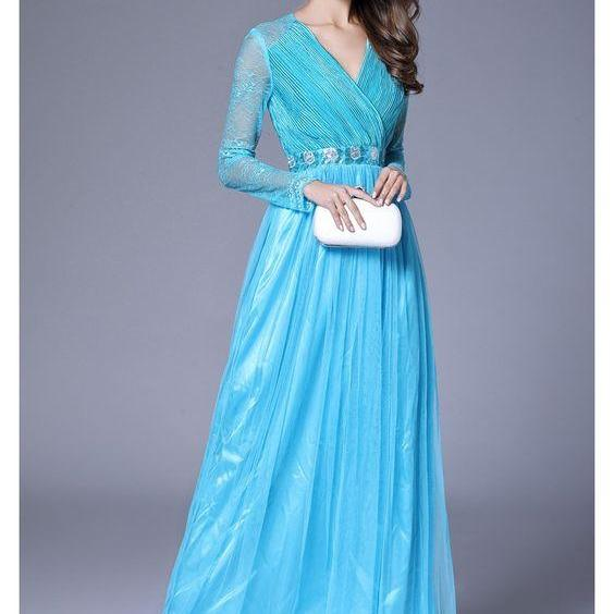 Blue Lace Long Sleeve Chiffon Formal Dress