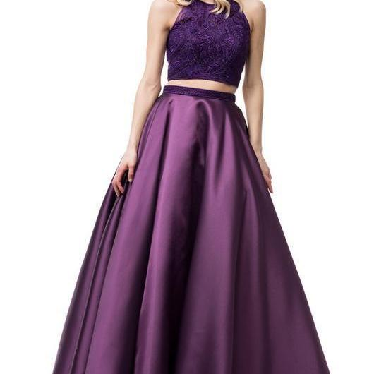 Two-Piece Plum Embroidered Tank Keyhole Back Satin Ball Gown With Pockets ,Party Gown,Evening Dress,Cheap Prom Dress