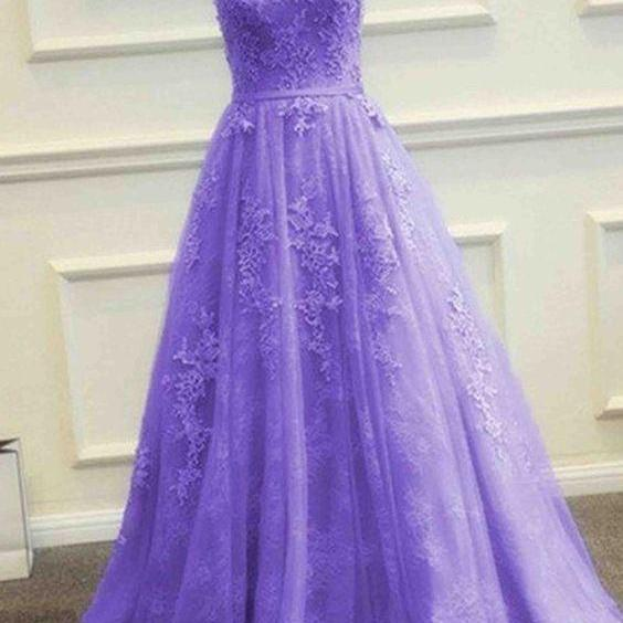Purple tulle lace applique round neck A-line long evening dresses,Custom Made,Party Gown,Cheap Prom dress