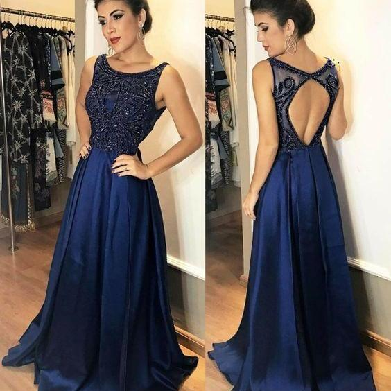 Charming Prom Dress,Beading Prom Dress,Satin Prom Dress,A-Line Evening Dress