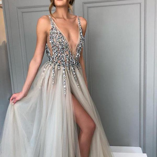 Long Backless Grey Sexy Dresses with Slit Rhinestone See Through Prom Dress