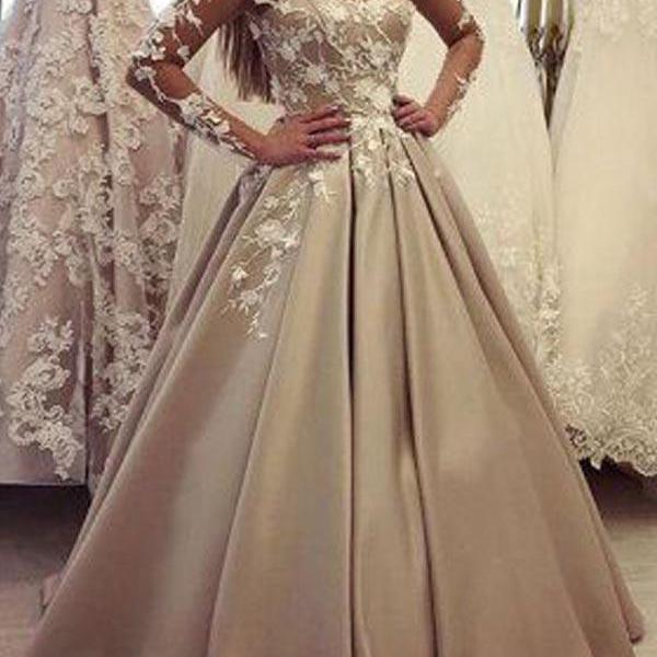 Elegant V-Neck party dress Lace Top Long Sleeves Evening Prom Dresses