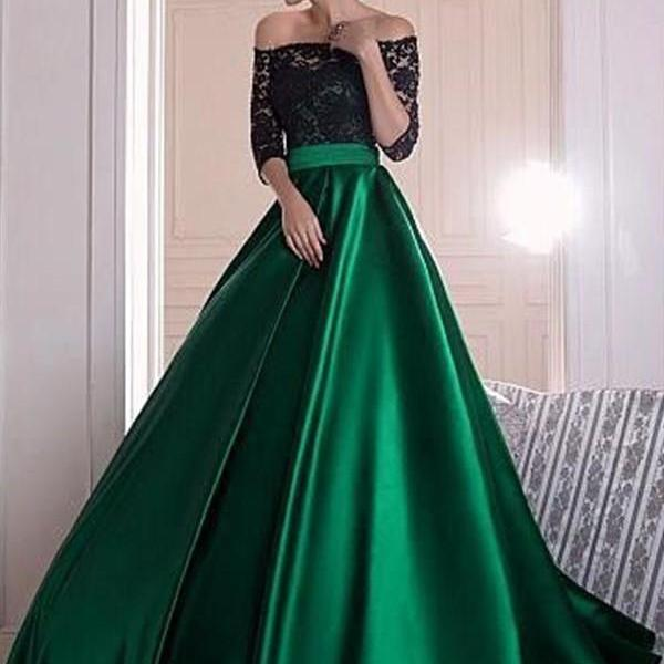 Black Lace Off-the-shoulder Half Sleeves Green Satin A-line Prom Dress ball gown evening dress