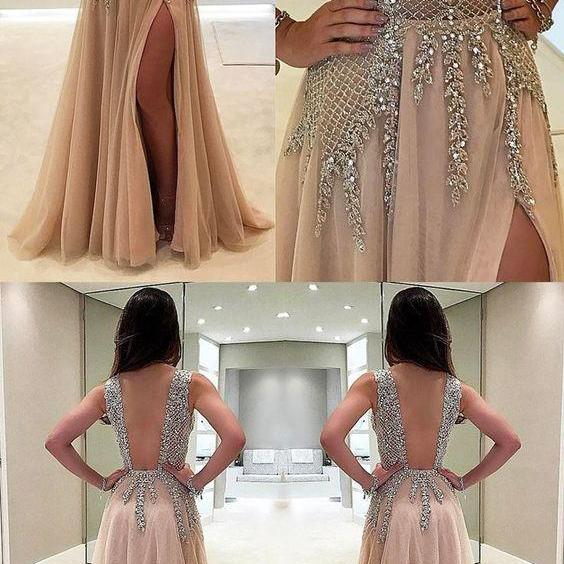 Charming Custom V neck Sleeveless Side Sleeves Most Popular Affordable High Quality Prom Dresses