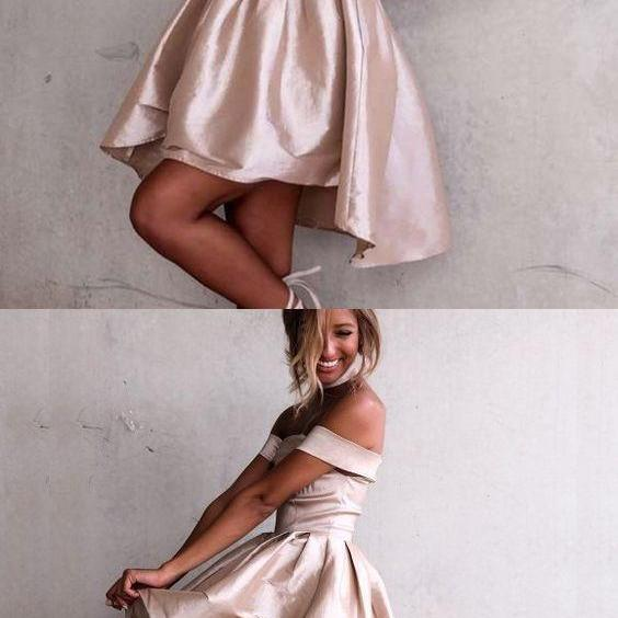 Fashion A-Line homecoming dress Off-the-Shoulder party dress Satin High Low Homecoming Dress