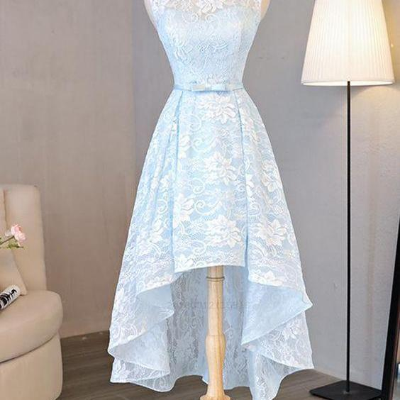 High Low homecoming dress Light Blue lace prom dress Blue formal dress