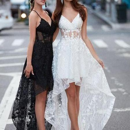 Fashion Lace prome dress High Low party dress Spaghetti Straps Prom Dresses